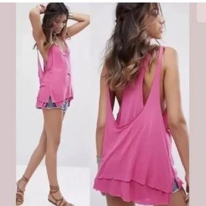 We the free Karmen Pink tank cut-out loose fit